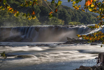 Photograph - Sandstone Falls In The Fall Back Lite Mist by Dan Friend