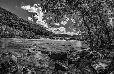 West Virginia Photograph - Sandstone Falls West Virginia 3 Bw by Steve Harrington