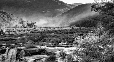 Ledge Photograph - Sandstone Falls West Virginia - Bw by Steve Harrington