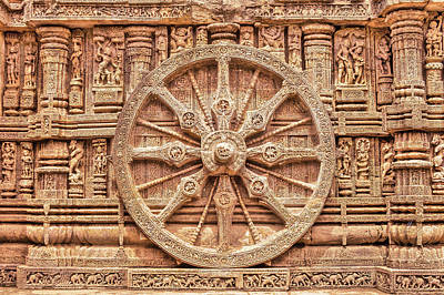 Photograph - Stone Chariot Wheel, This Sun Temple In East India Is In The Shape Of A Giant Horse Drawn Chariot. by Nila Newsom