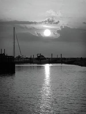 Photograph - Sandusky Bay Sunset Bw  by Shawna Rowe
