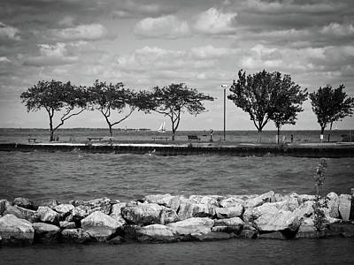 Photograph - Sandusky Ohio - Shoreline Park Bw by Shawna Rowe