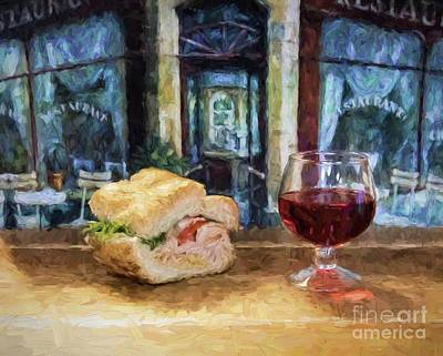 Photograph - Sandwich And Wine by Cecil Fuselier