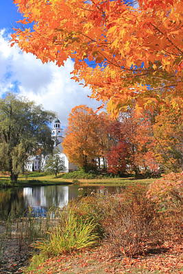 Photograph - Sandwich New Hampshire Village Pond Fall Foliage by John Burk