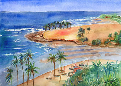 Watercolor Painting - Sandy Beach by Arline Wagner