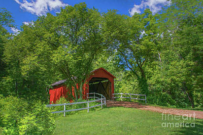 Photograph - Sandy Creek Cover Bridge by Peggy Franz