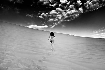 Sandy Dune Nude - Catching The Clouds Art Print