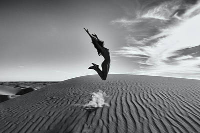 Photograph - Sandy Dune Nude - The Jump by Amyn Nasser