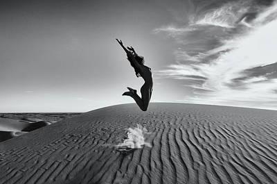 Sandy Dune Nude - The Jump Art Print