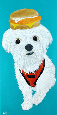Maltese Puppy Wall Art - Painting - Sandy - Filet O Fish by Nick Nestle