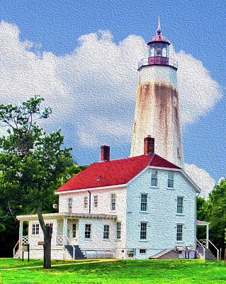 Mixed Media - Sandy Hook Light House by B Wayne Mullins