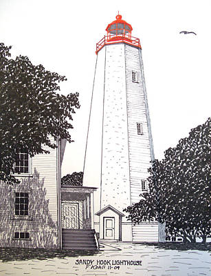 Drawing - Sandy Hook Lighthouse Drawing by Frederic Kohli