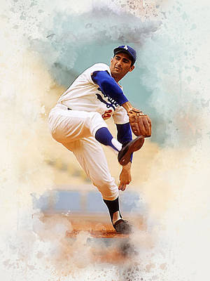 Los Angeles Dodgers Digital Art - Sandy Koufax by Karl Knox