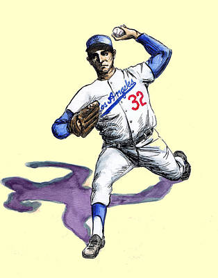 Baseball Drawing - Sandy Koufax by Mel Thompson