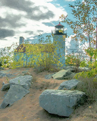 Digital Art - Sandy Point Lighthouse Escanaba 1 by Trey Foerster