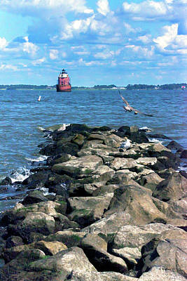 Photograph - Sandy Point Shoal Lighthouse Off The Rocks by Brian Wallace