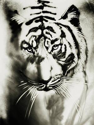 Mixed Media - Sandy Tiger by Elena Vedernikova
