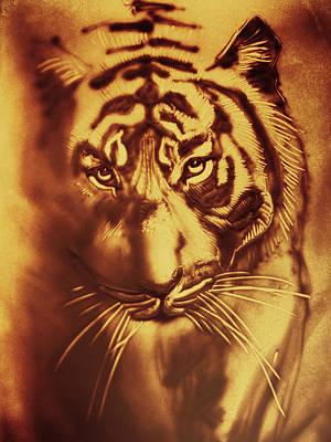 Drawing - Sandy Tiger. Golden by Elena Vedernikova
