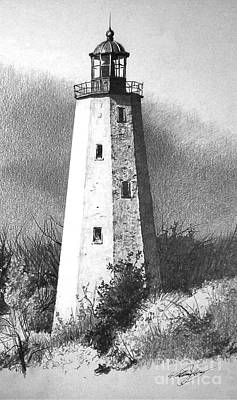 Lighthouse Drawing - Sandyhook by William Kelsey