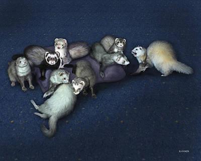 Pets Digital Art - Sandy's Ferrets by Barbara Hymer