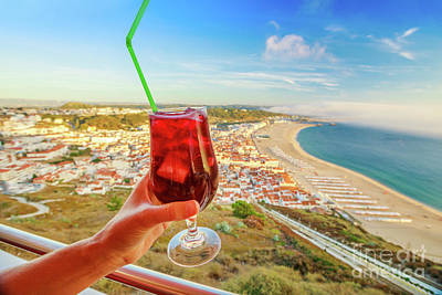 Photograph - Sangria And Nazare Skyline by Benny Marty