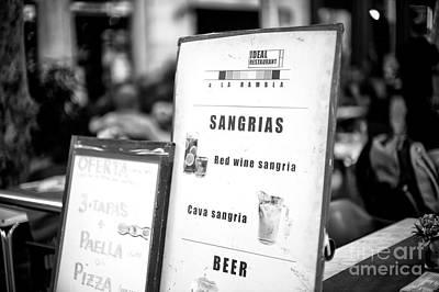 Photograph - Sangrias by John Rizzuto