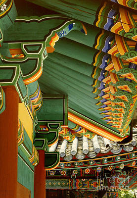 Photograph - Sangwongsa Buddhist Temple Decoration - Rafters And Tiles by Sharon Hudson