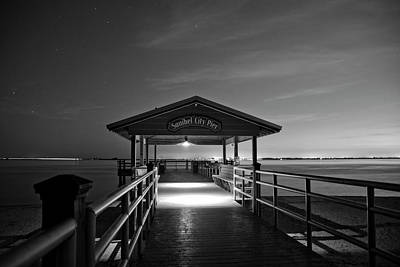 Stars Photograph - Sanibel City Pier In Black And White by Chrystal Mimbs