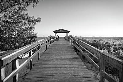 Photograph - Sanibel Fishing Pier In Black And White by Chrystal Mimbs
