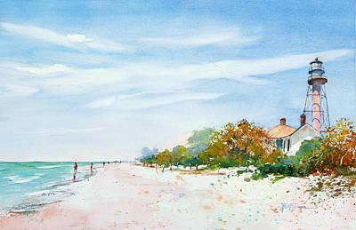 Sanibel Island Painting - Sanibel Island Lighthouse Beach by Keith Johnson