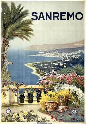 Coast Mixed Media - Sanremo, Mediterranean Coast, Italy - Retro Travel Poster - Vintage Poster by Studio Grafiikka