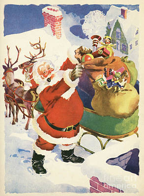 Reindeer Painting - Santa And His Bags Of Toys On Christmas Eve by American School