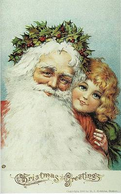 Santa And His Little Admirer Art Print
