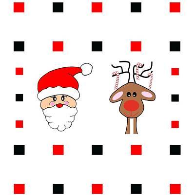 Digital Art - Santa And His Reindeer by Kathleen Sartoris