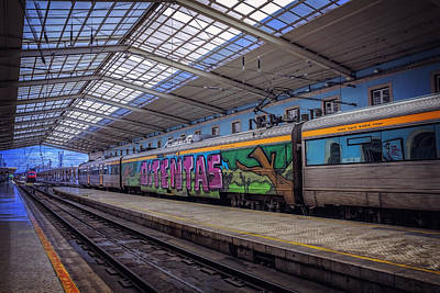 Terminal Photograph - Santa Apolonia Train Station Lisbon by Carol Japp