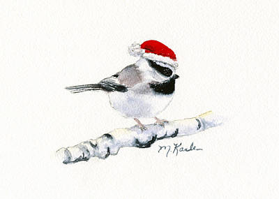 Santa Bandit - Chickadee Art Print