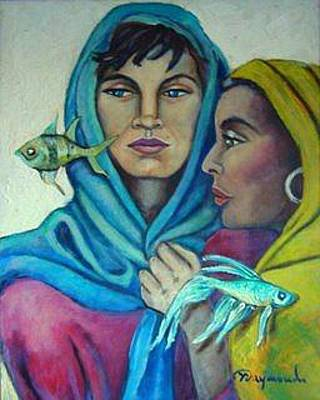 Yemaya Painting - Santa Barbara And Yemaya by Yasemin Raymondo