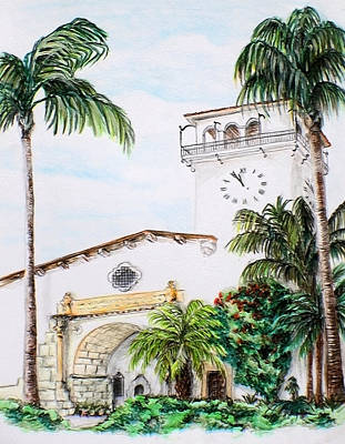 Drawing - Santa Barbara City Hall by Danuta Bennett