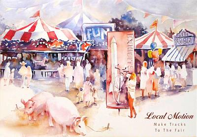 Pink Pigs Painting - Santa Barbara County Fair  by Joan  Jones
