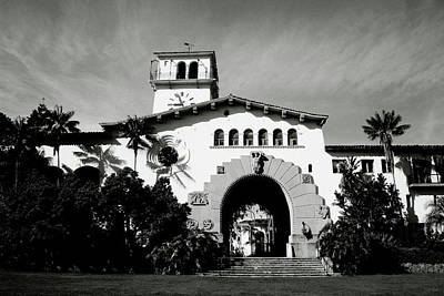 Black And White Art Mixed Media - Santa Barbara Courthouse Black And White-by Linda Woods by Linda Woods