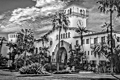 Photograph - Santa Barbara Courthouse Bw by Danuta Bennett