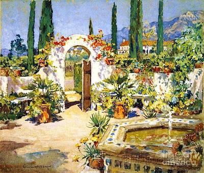 Painting - Santa Barbara Courtyard by Pg Reproductions