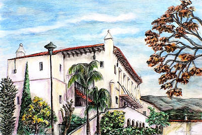 Drawing - Santa Barbara Fall by Danuta Bennett
