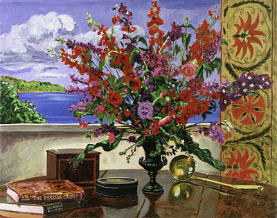 Traditional Still Life Painting - Santa Barbara Floral by David Lloyd Glover