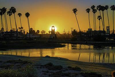 Photograph - Santa Barbara Lighthouse Sunset by Lynn Bauer