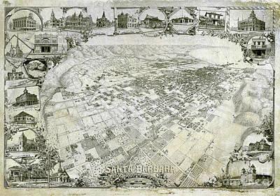 Santa Barbara Photograph - Santa Barbara Map 1898 by Jon Neidert