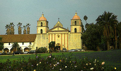 Painting - Santa Barbara Mission California by Art America Gallery Peter Potter