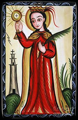 Painting - Santa Barbara - St. Barbara - Aobar by Br Arturo Olivas OFS