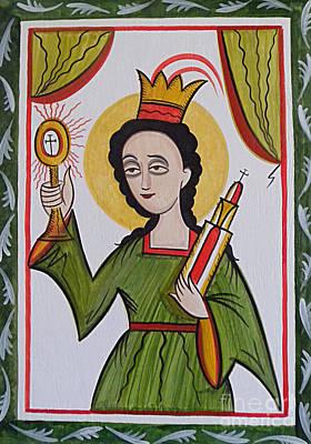 Painting - Santa Barbara - St. Barbara - Aosba by Br Arturo Olivas OFS