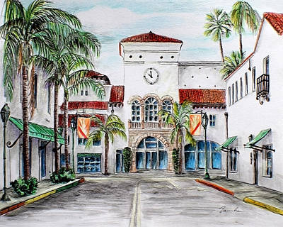 Drawing - Santa Barbara Streets by Danuta Bennett